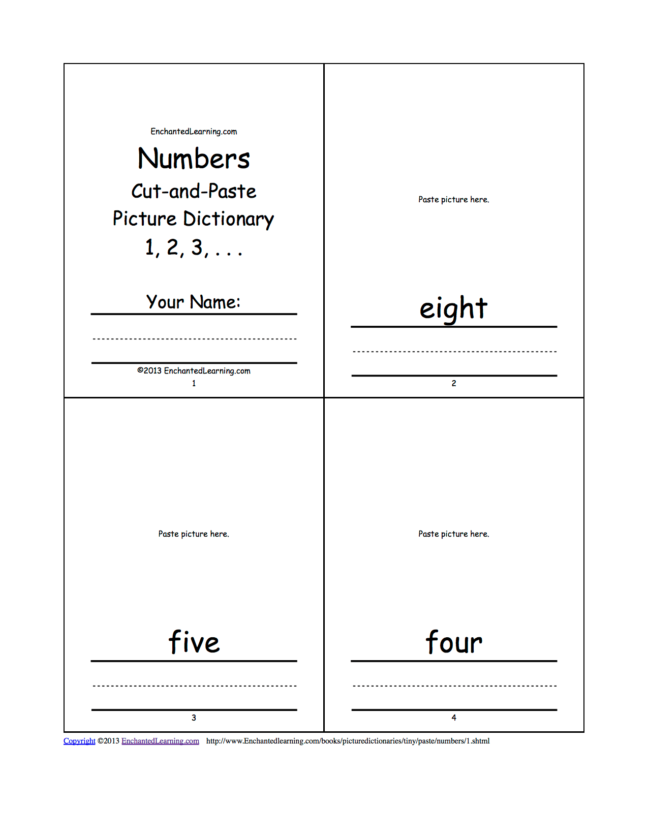 Numbers Cut And Paste Picture Dictionary