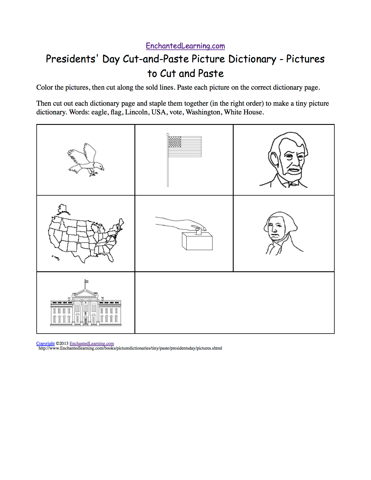 Presidents Day Cut And Paste Picture Dictionary