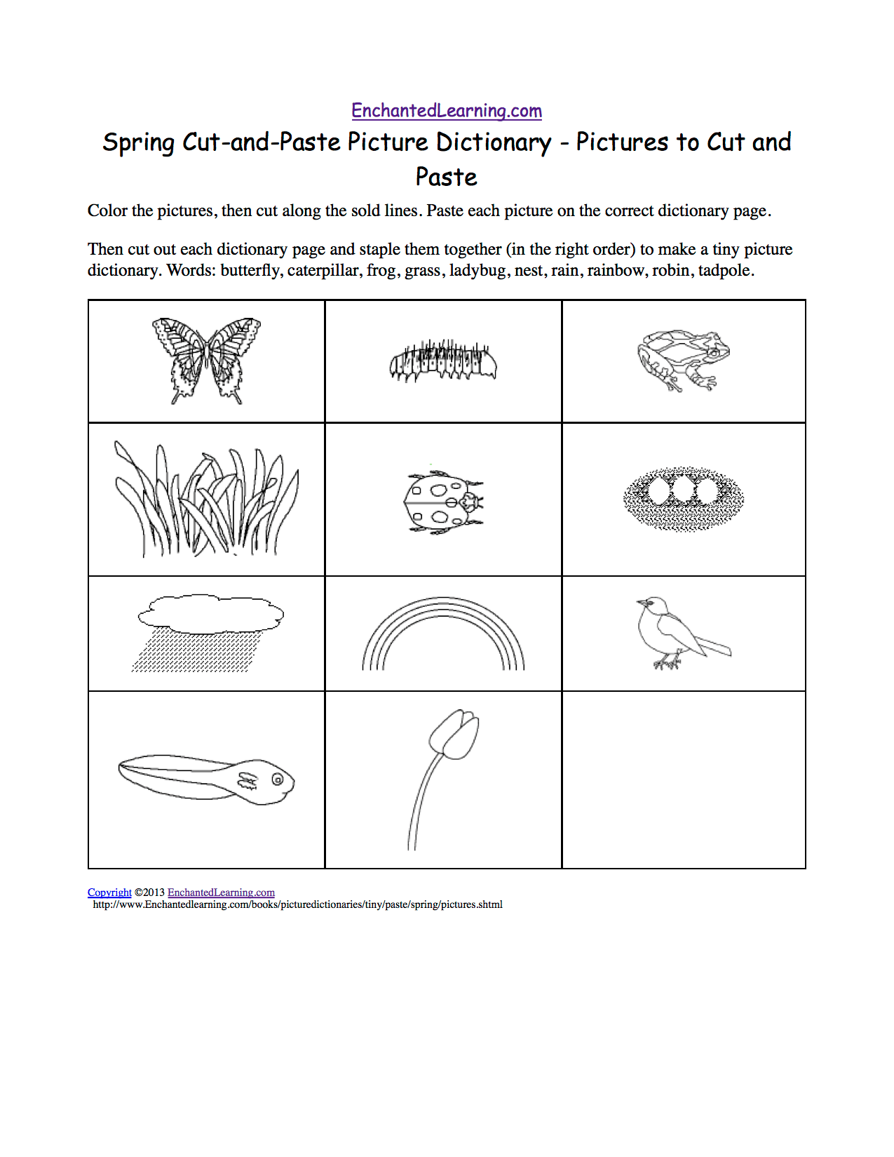 Spring Cut And Paste Picture Dictionary