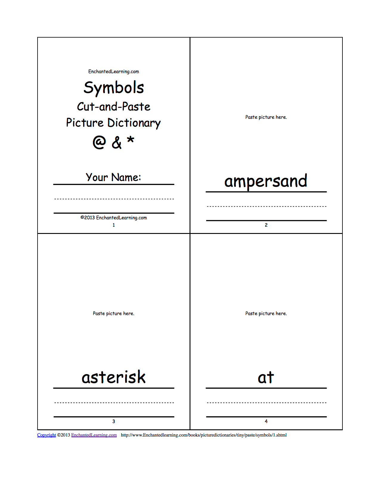 Symbols Cut And Paste Picture Dictionary