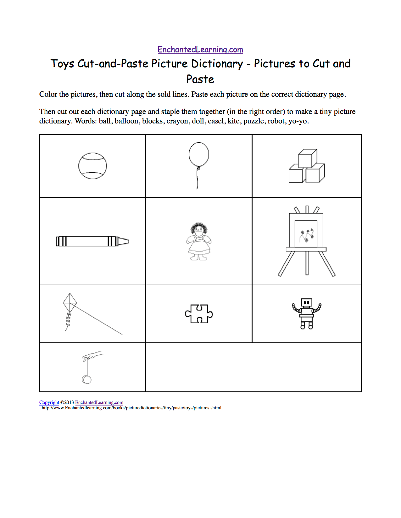Toys Cut And Paste Picture Dictionary