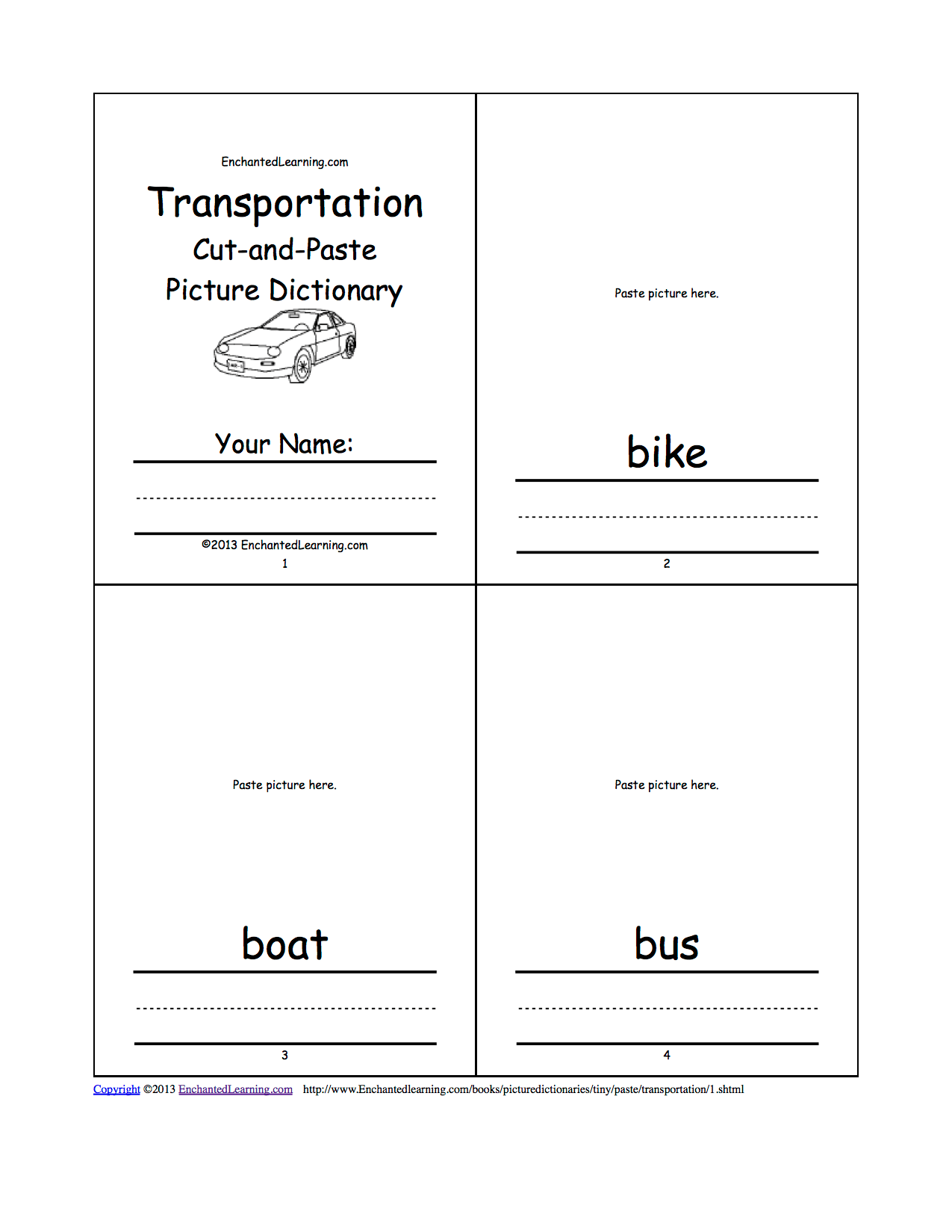 Cut And Paste Transportation Worksheets Pictures To Pin On