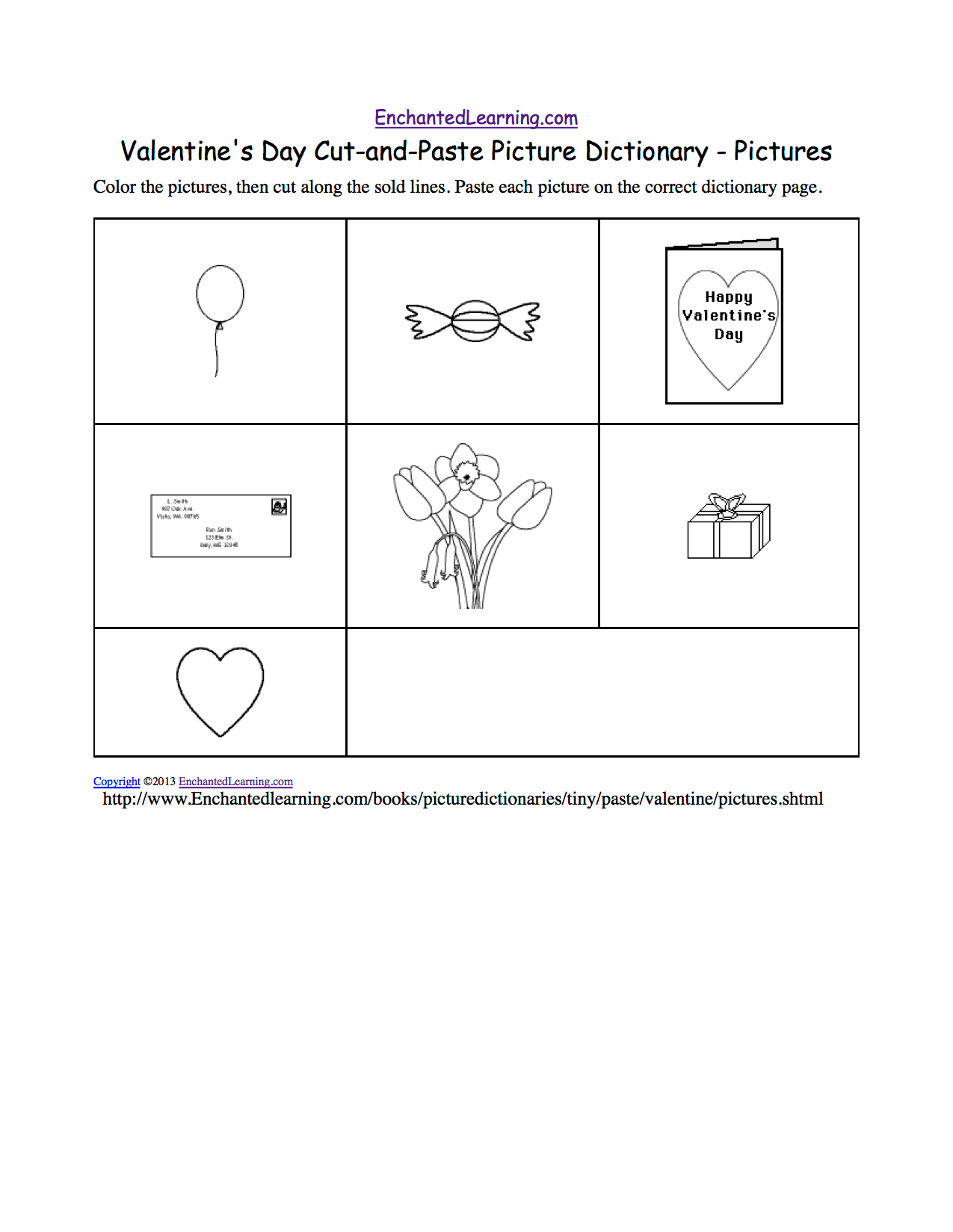 Valentine S Day Cut And Paste Picture Dictionary