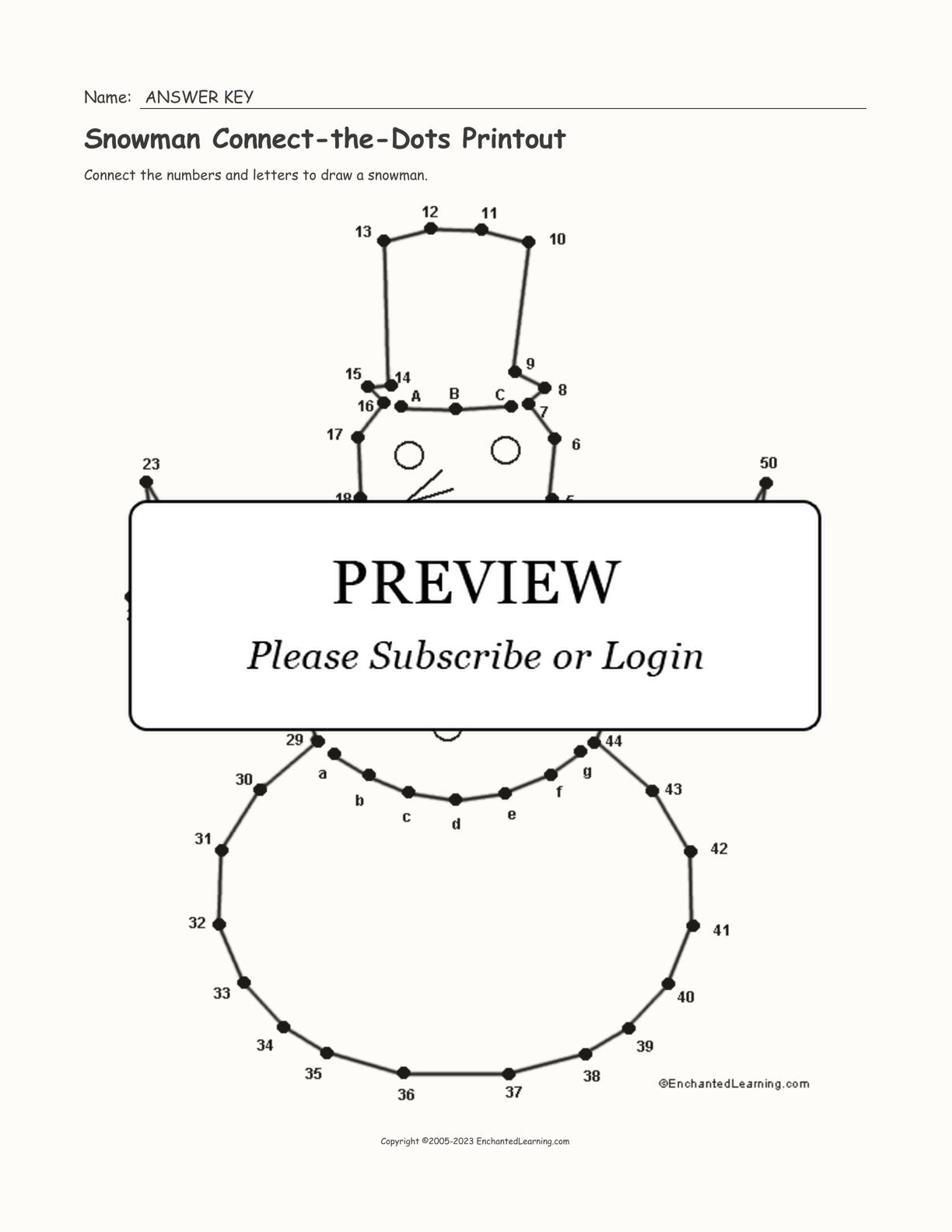 Snowman Connect The Dots Printout