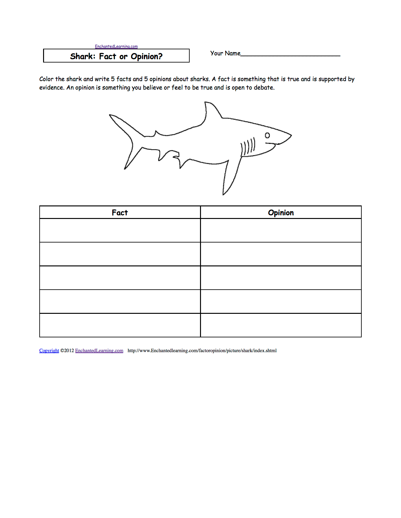 Sharks At Enchantedlearning