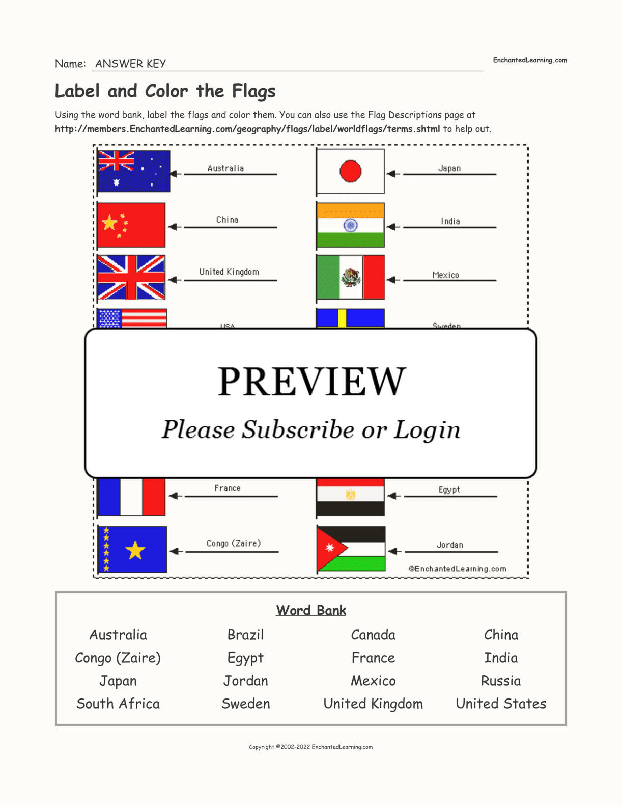 World Flags Label Me Printout