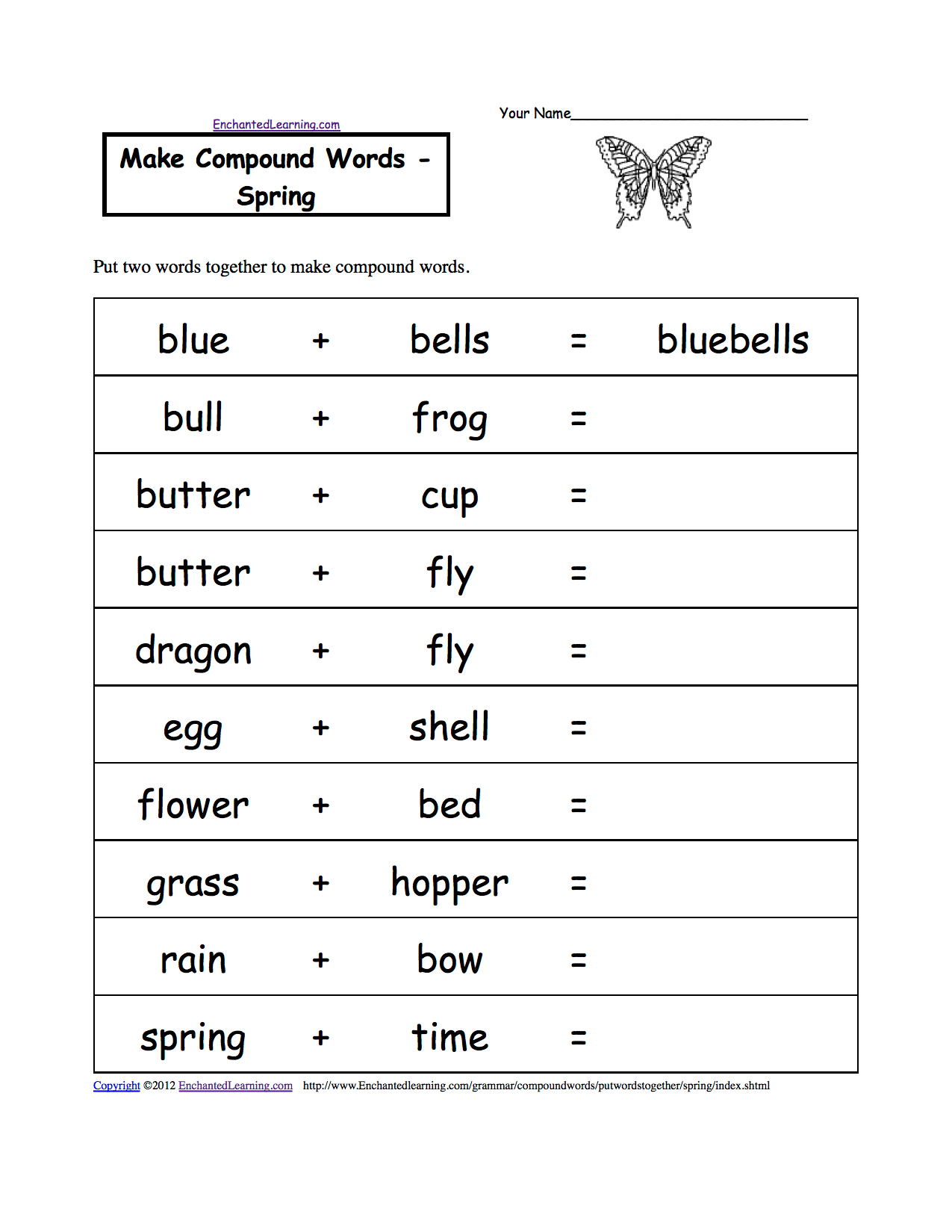 Make Compound Words Printable Worksheets