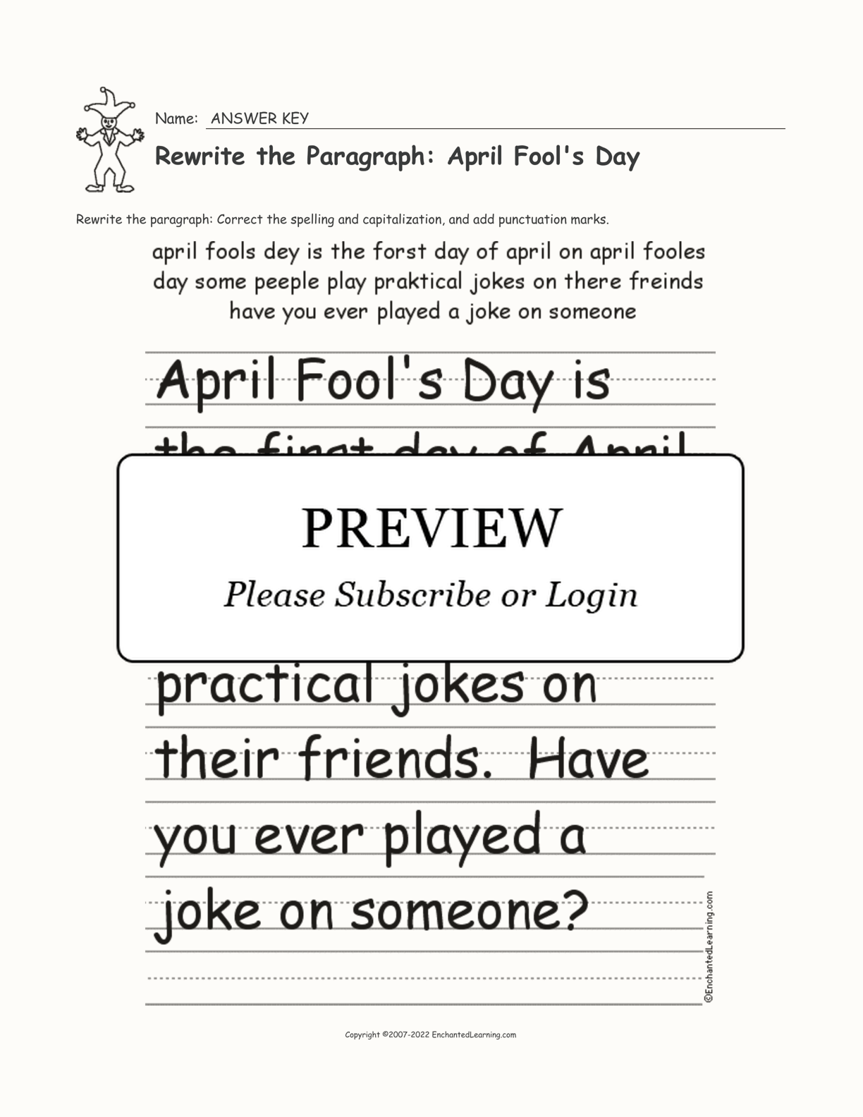 Rewrite The Paragraph April Fool S Day