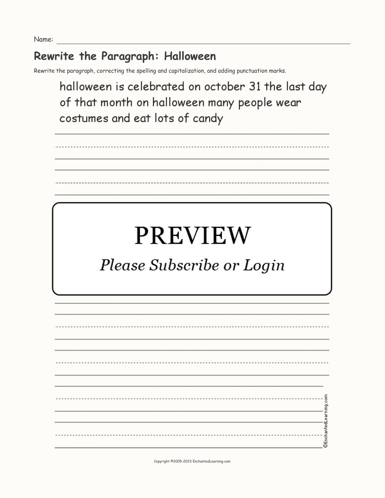 Rewrite The Paragraph Halloween Printout