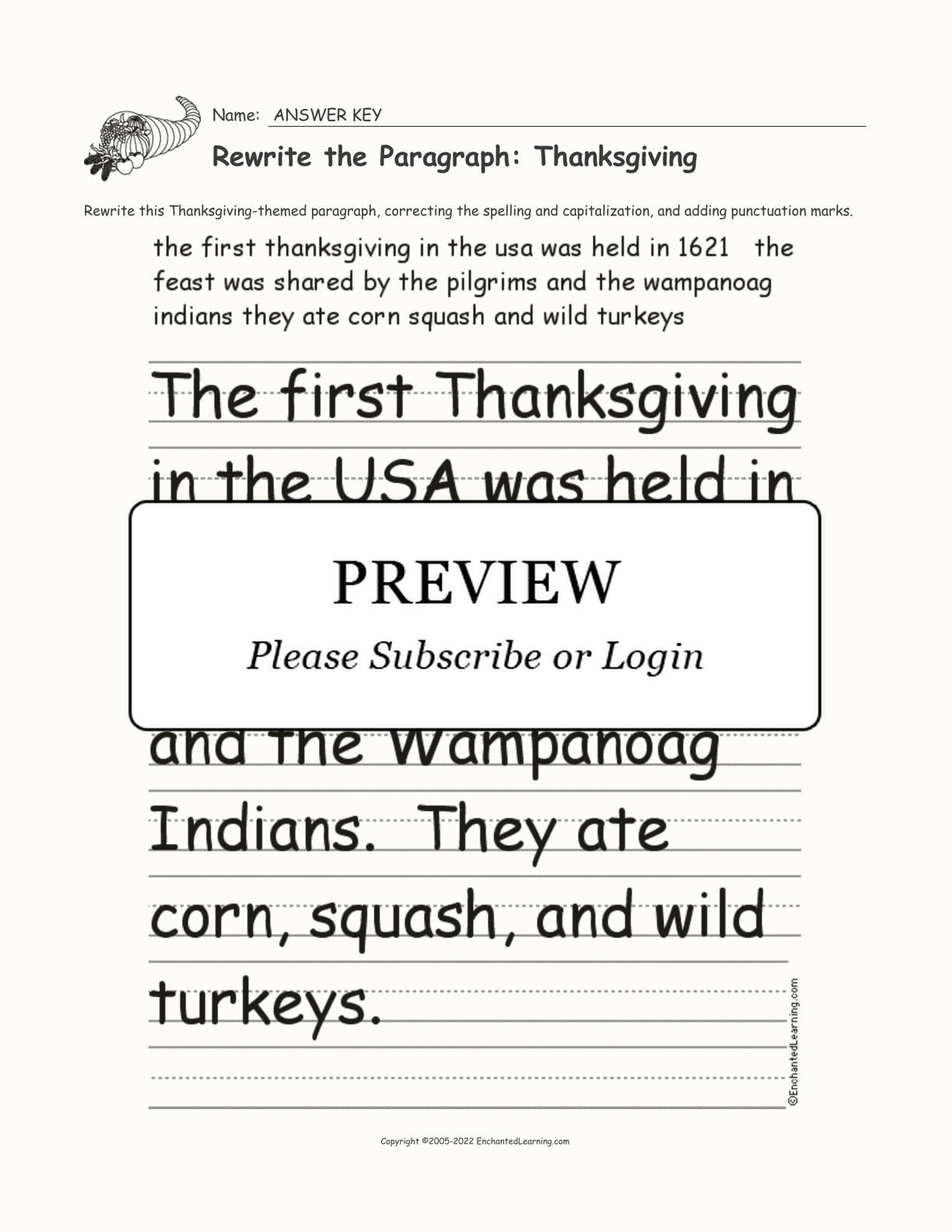 Rewrite The Paragraph Thanksgiving