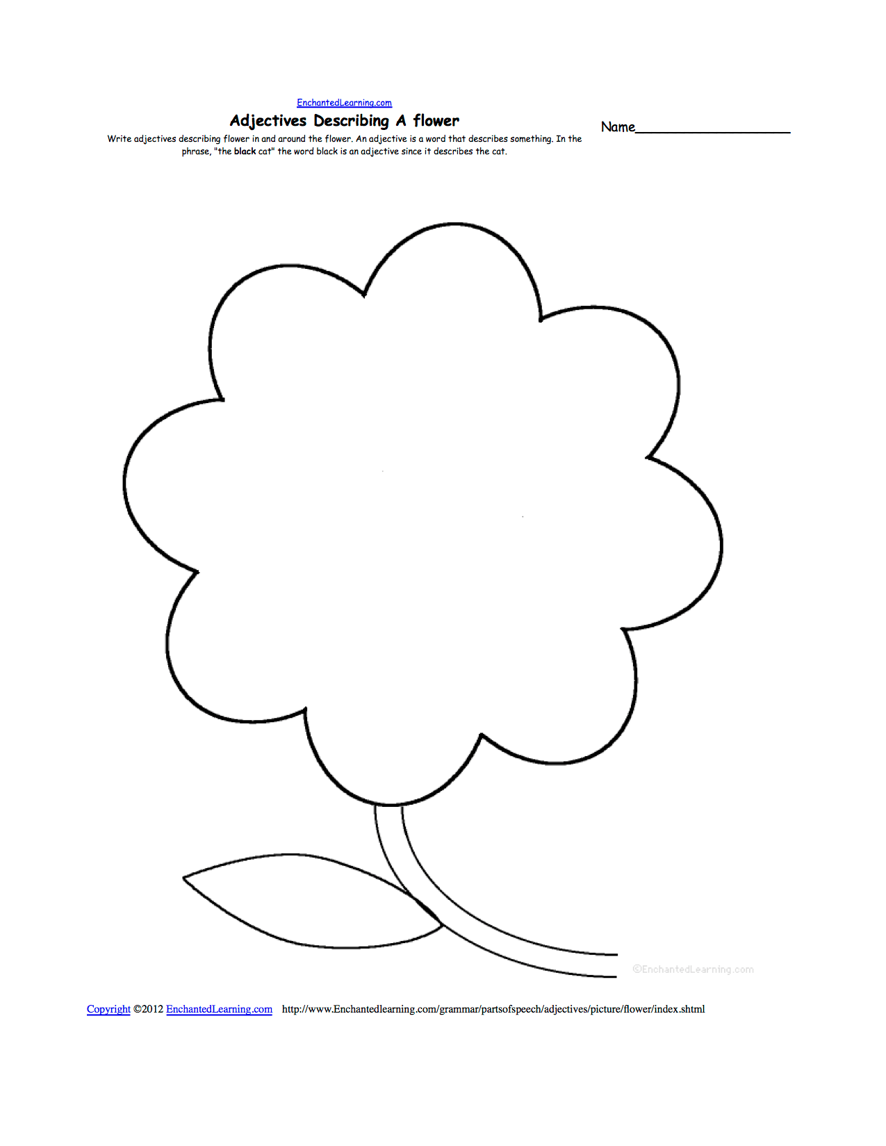 Writing Worksheets Flowers At Enchantedlearning