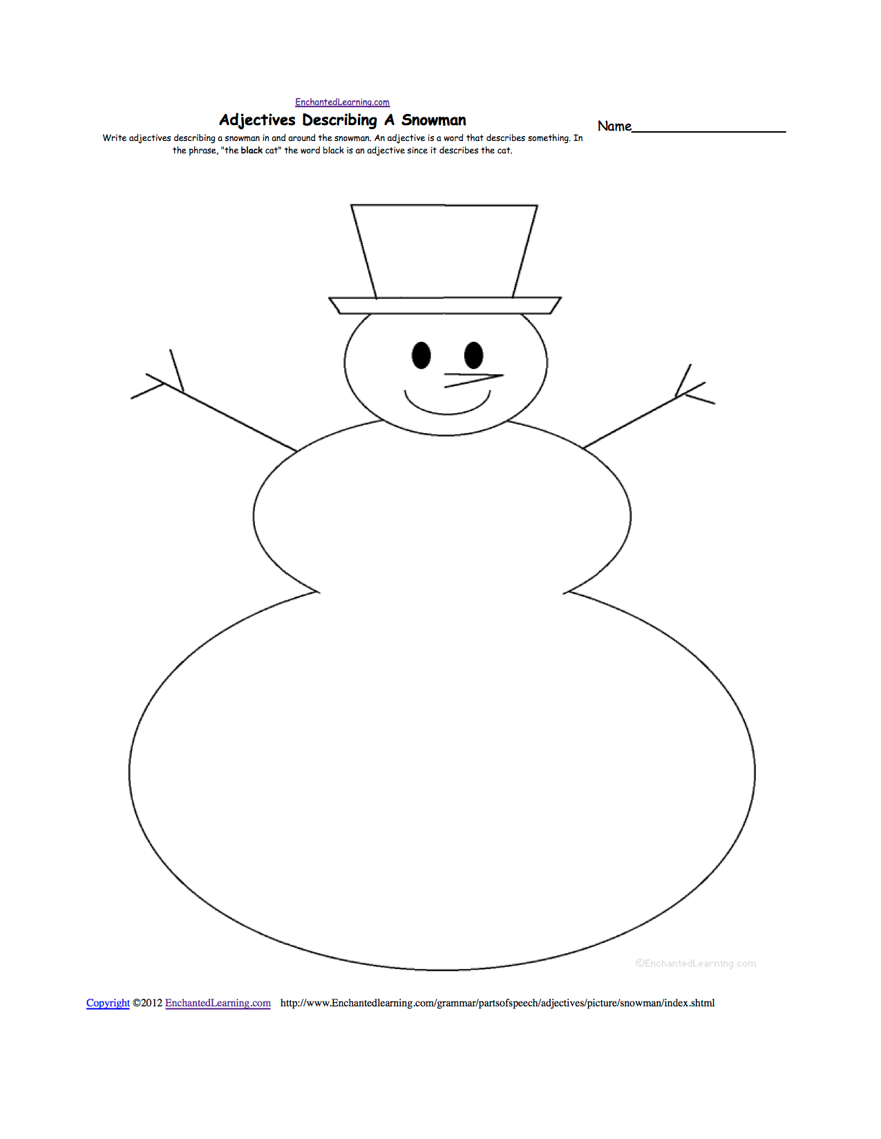 Writing Worksheets Winter K 3 Theme Page At Enchantedlearning