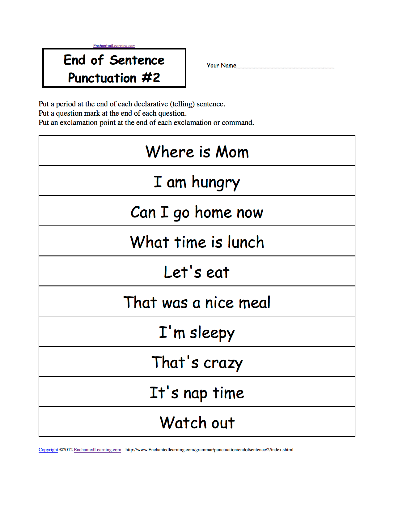 Worksheet On Punctuation For Grade 4