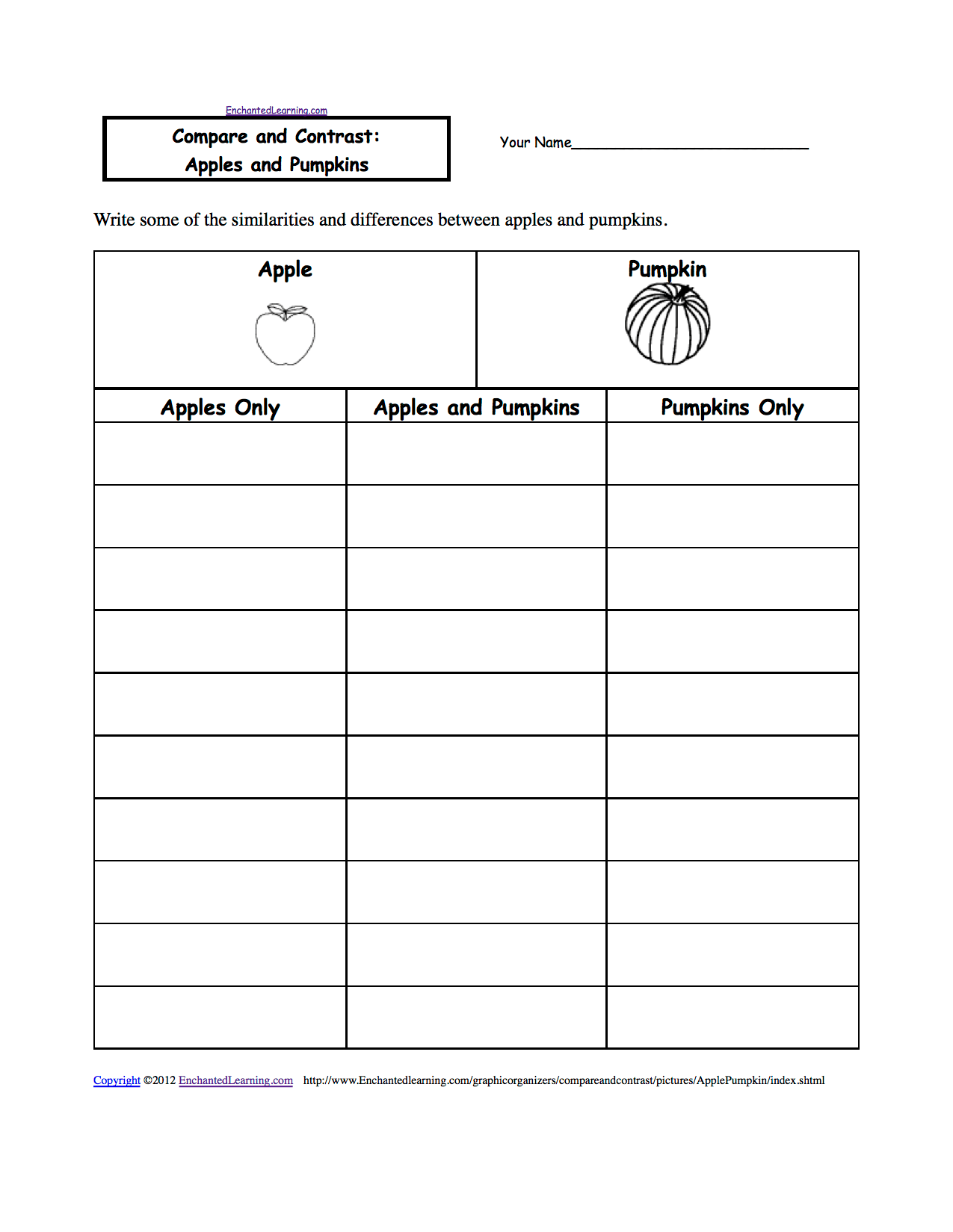 Compare And Contrast Worksheets To Print