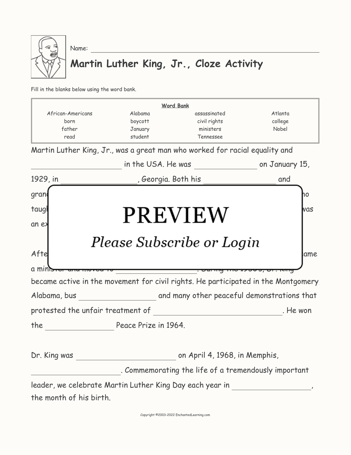 Martin Luther King Jr Cloze Activity