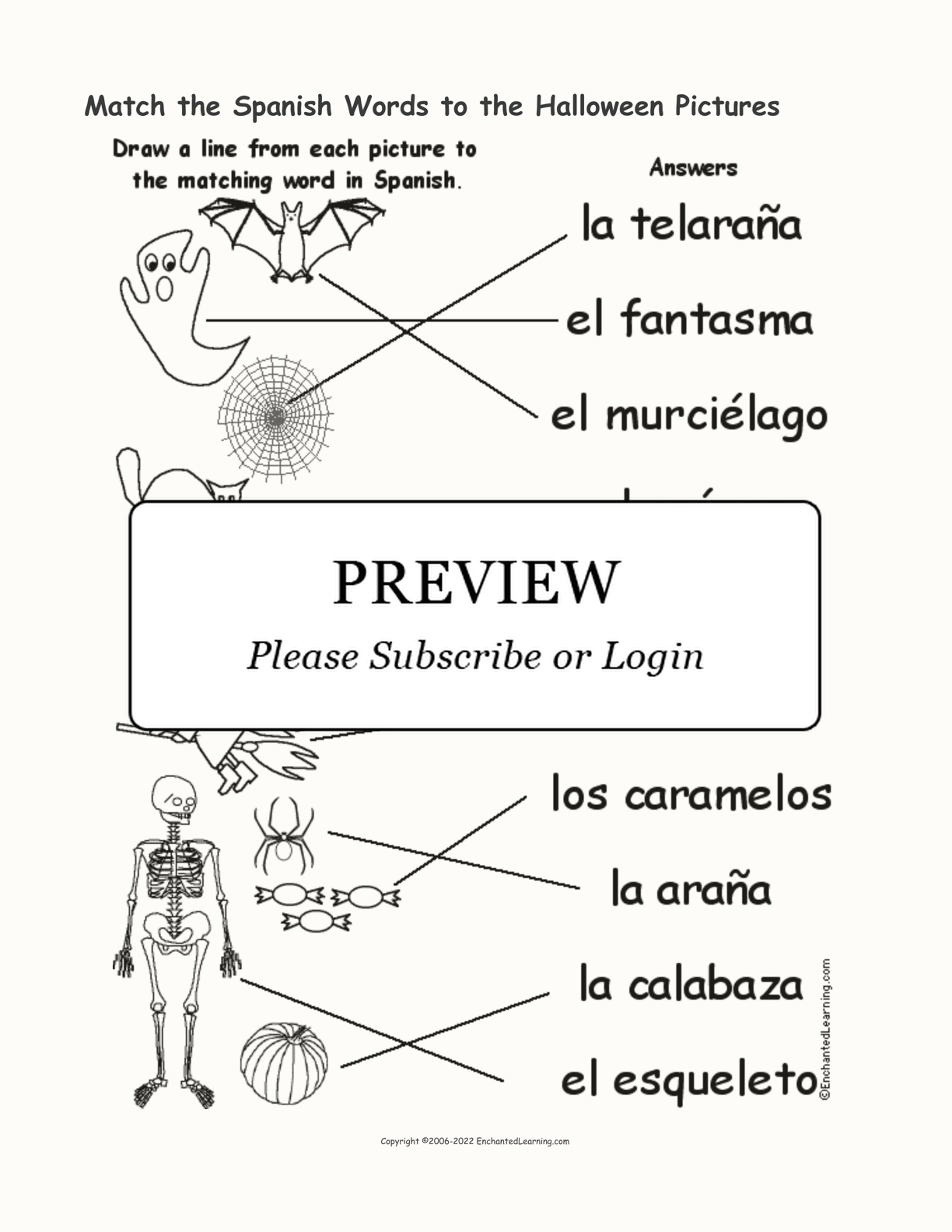 Match The Spanish Words To The Halloween Pictures