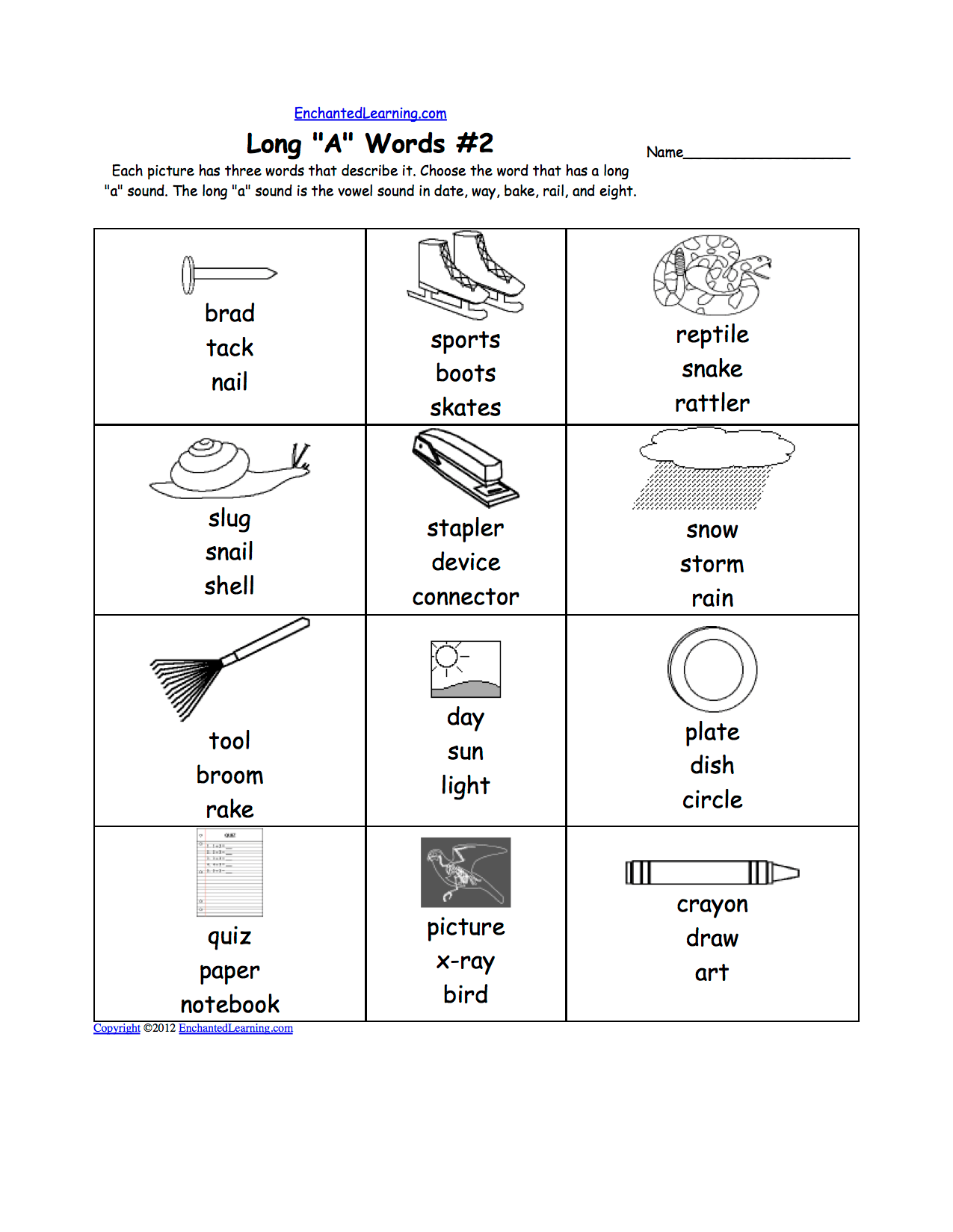 Long A Alphabet Activities At Enchantedlearning