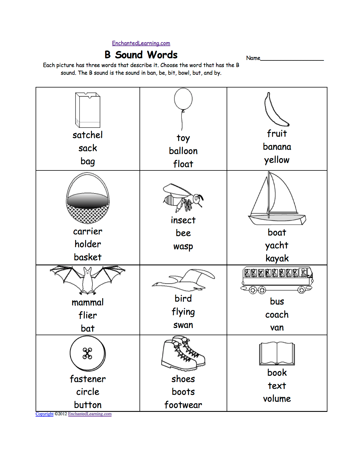 Letter B Phonics Worksheets