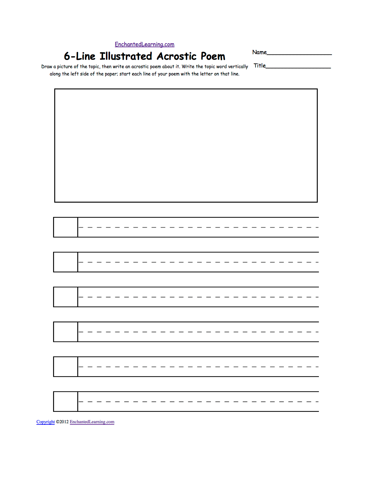 Illustrated Acrostic Poem Worksheets Worksheet Printout