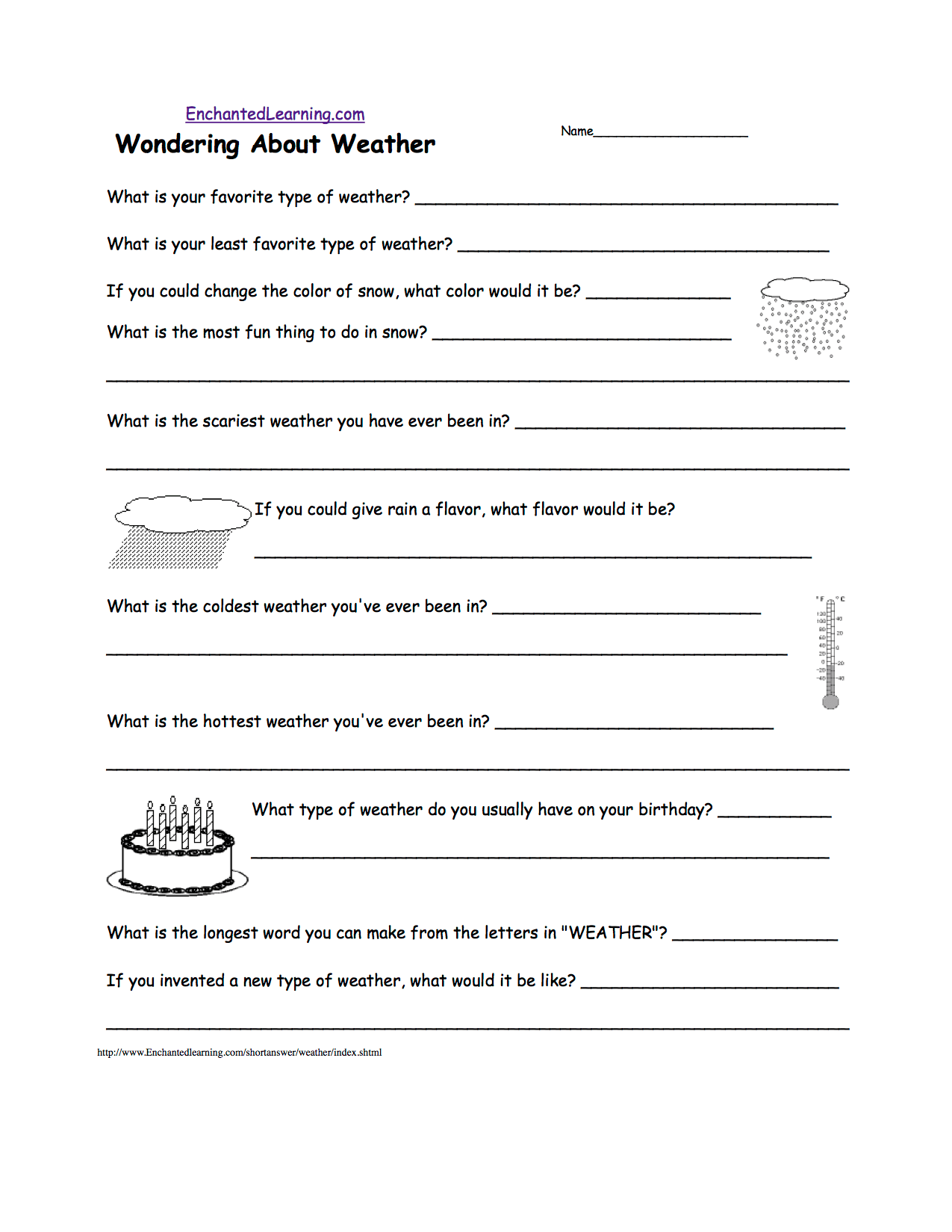 Weather Related Writing Activities At Enchantedlearning