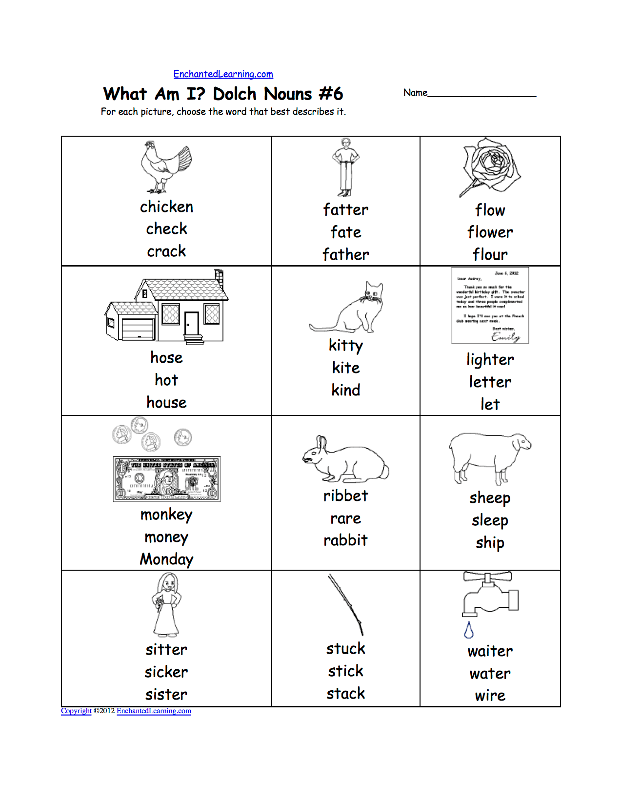 Dolch Nouns Multiple Choice Spelling Words At