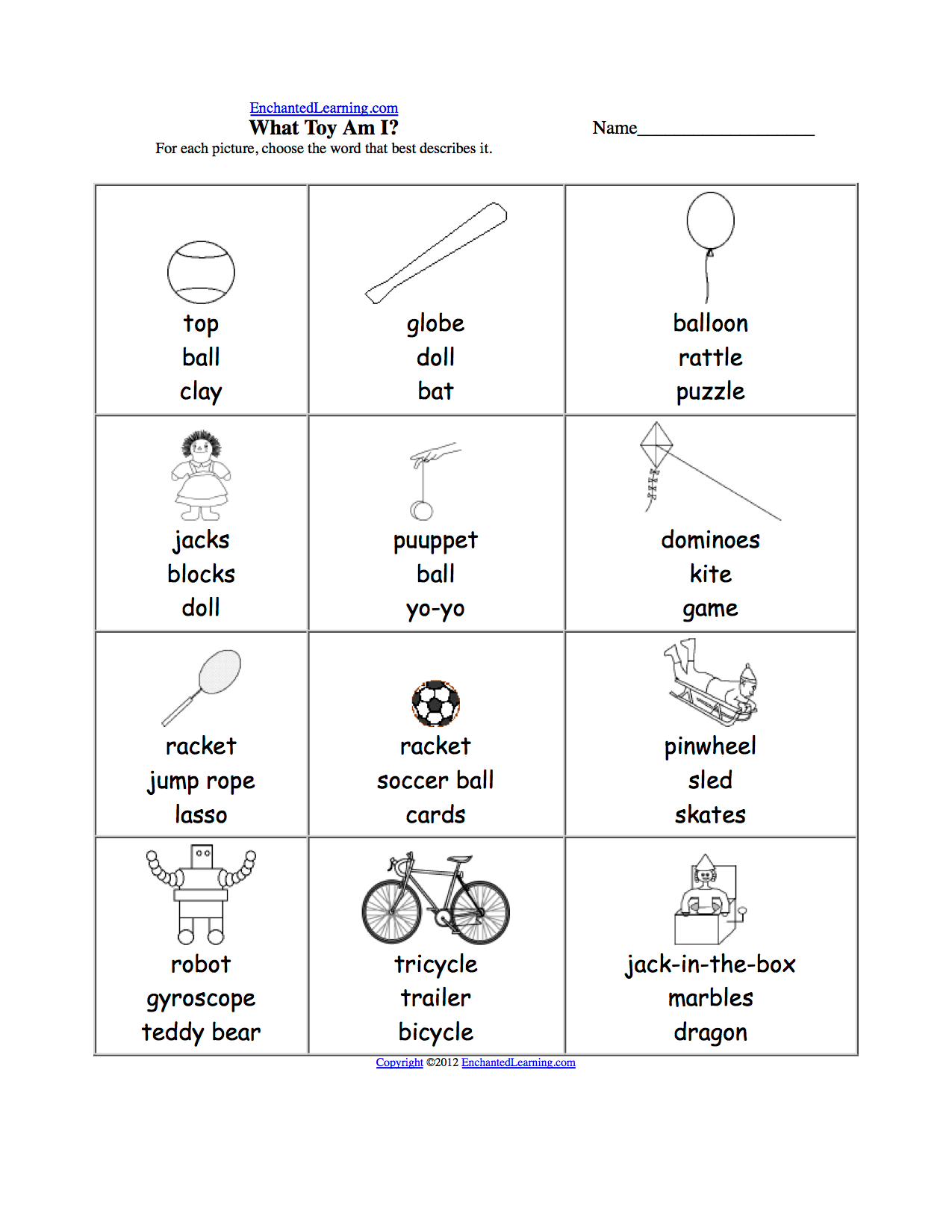 Miscellaneous Multiple Choice Spelling Words At Enchantedlearning