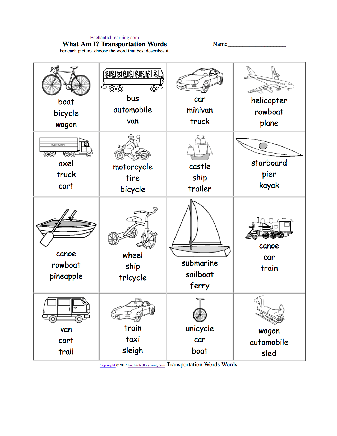 Vehicles Multiple Choice Spelling Words At Enchantedlearning