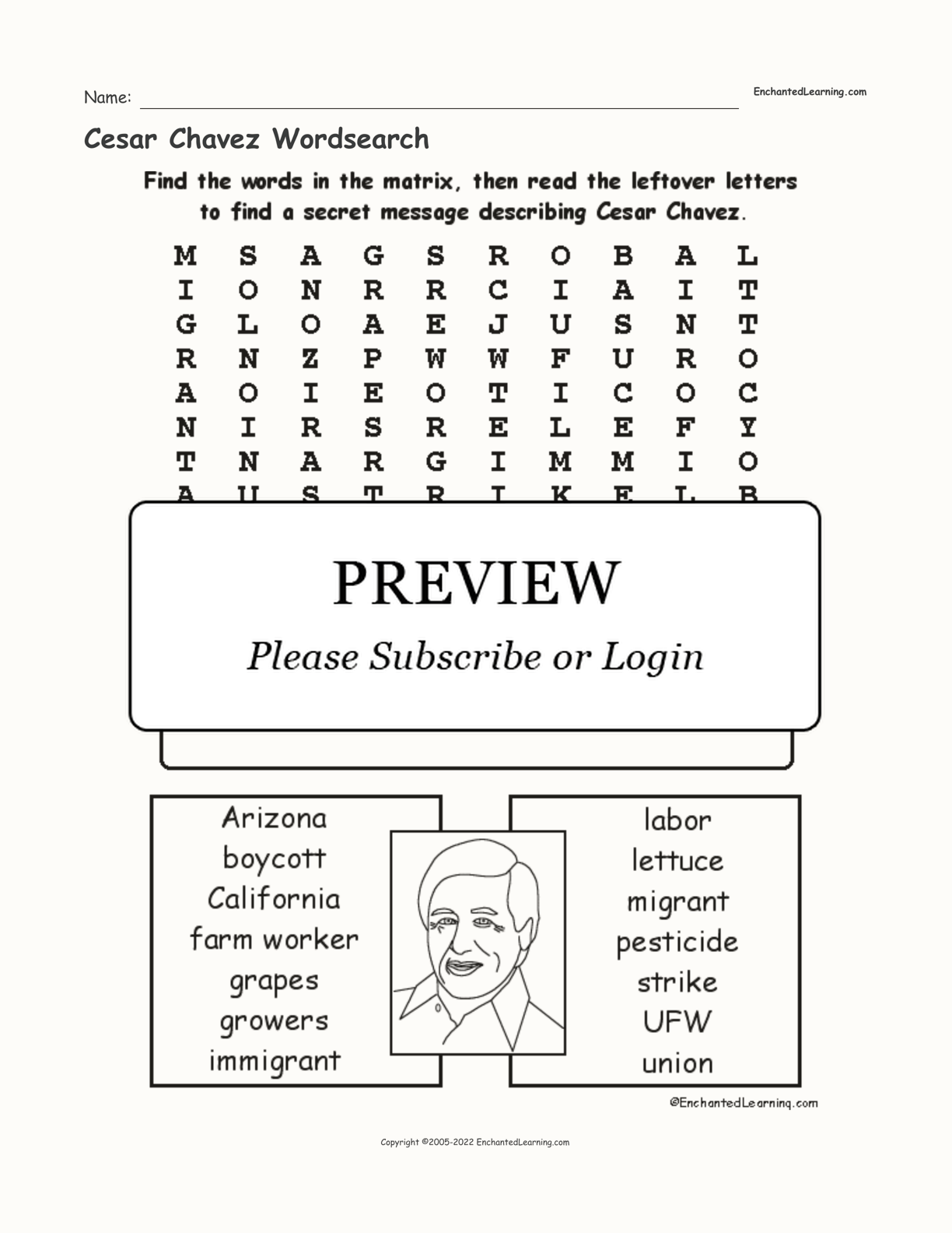 Cesar Chavez Wordsearch