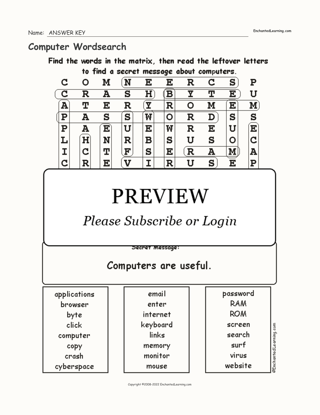 Computer Wordsearch