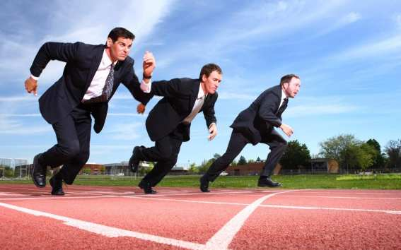 a picture of executives racing each other on a track symbolizing Epicor ERP winning as the Best Small Business ERP