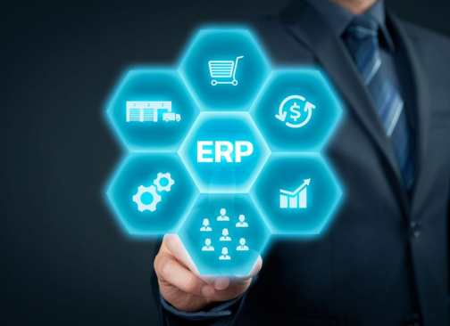 A pictureof a digital honeycomb with ERP in the center, and associated functionalities surrounding it