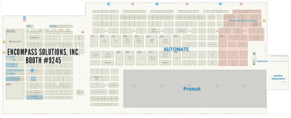 an image of the encompass solutions booth 9245 at automate 2019 floorplan