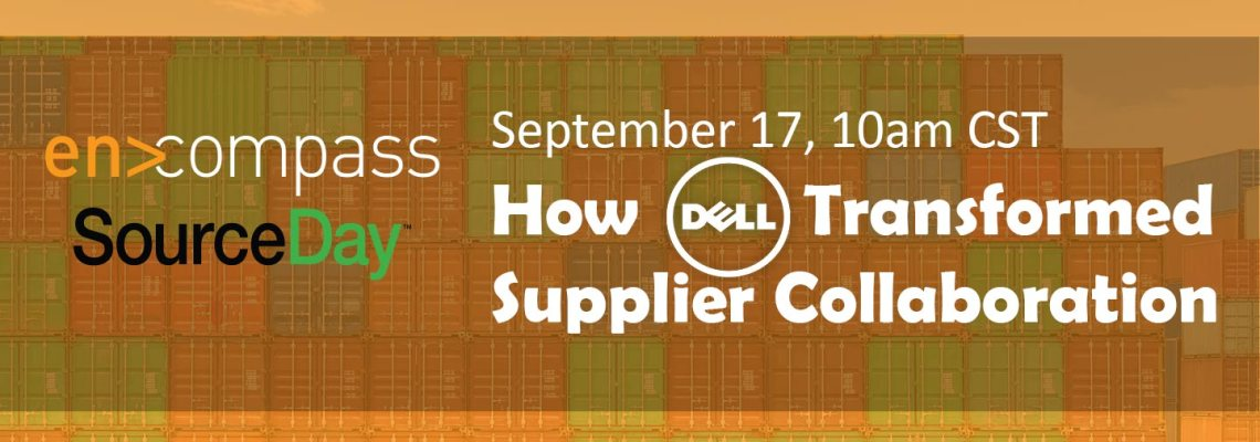 an image of the live webinar banner for sourday encompass webinar on modernizing supplier collaboration, with dell case study