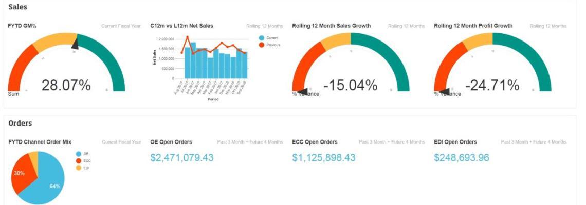 an image of the epicor data analytics dashboard as part of the Epicor Data Analytics (EDA) Financial Statements Webinar