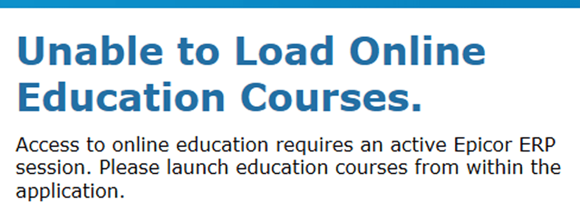 unable to load online education courses error message