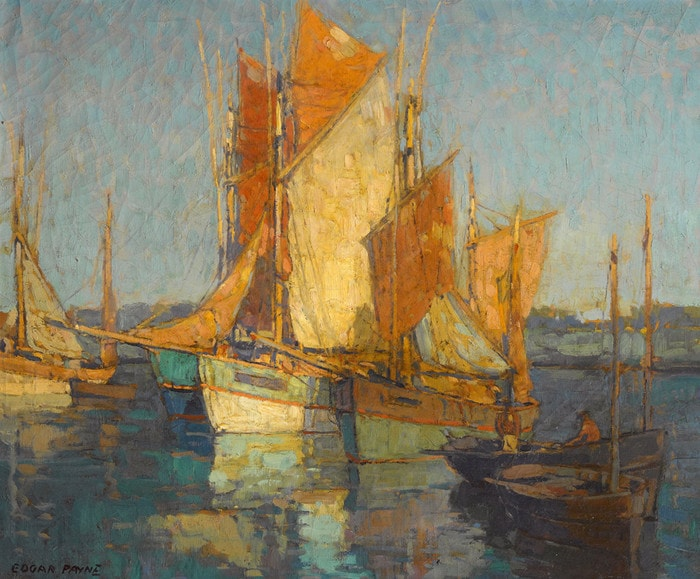 Sailboats in Harbor by Edgar Payne