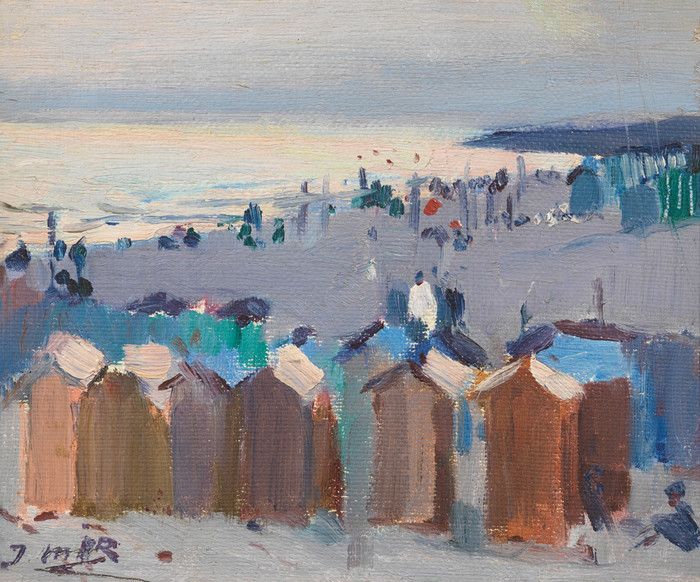 Bathing Huts on the Beach at Vilanova by Joaquim Mir