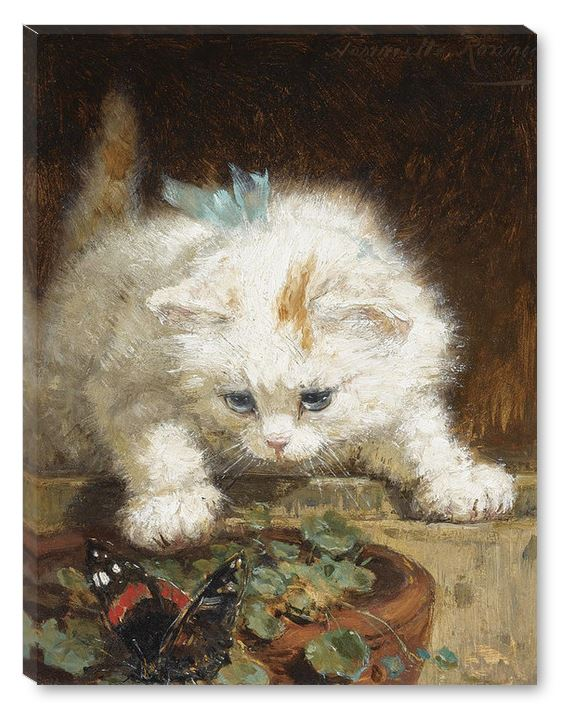 A Kitten Chasing a Butterfly by Henriette Ronner Knip