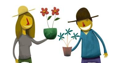 زراعة بصيلات الزهور في حديقة مكتبة تمبلهوف.