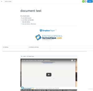 Eléments possiblent avec Dropbox Paper