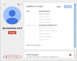 Fiche d'un contacts sous Google