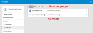 Liste d'un groupe de contacts