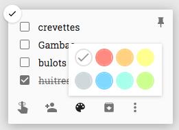 Classer une note sous keep avec les couleurs