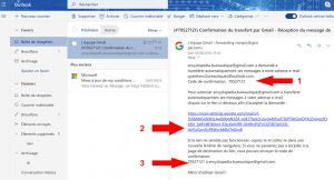 Email d'autorisation d'une redirection d'email.