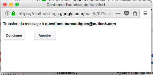 Message de demande de tranfert d'email gmail