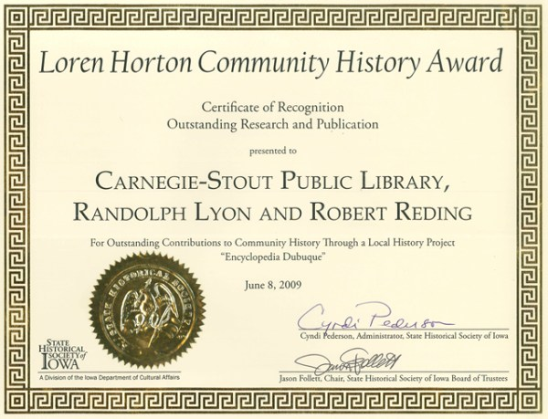 SHSI CERTIFICATE OF RECOGNITION - Encyclopedia Dubuque