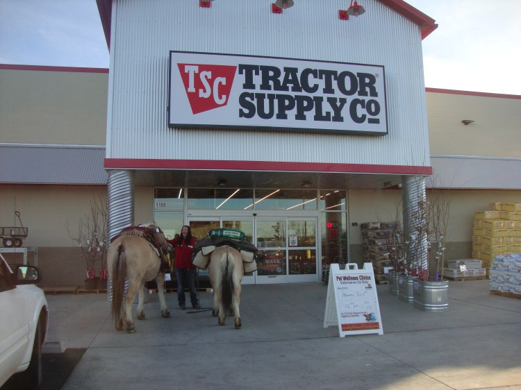 The Soccoro Fairgrounds are south of town. But I had no hay so I rode a short ways to Tractor Supply where the night manager helped get me set up with a sack of cubes and other supplies I needed.