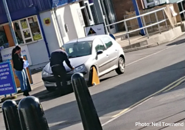 Clamped vehicle in Enderby Village