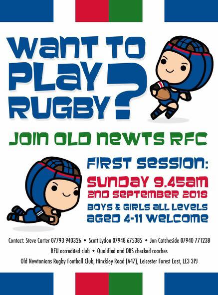 old newts rugby training flyer