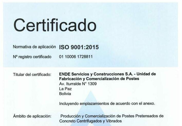 Certificación ISO 9001 – Producción y comercialización de Postes